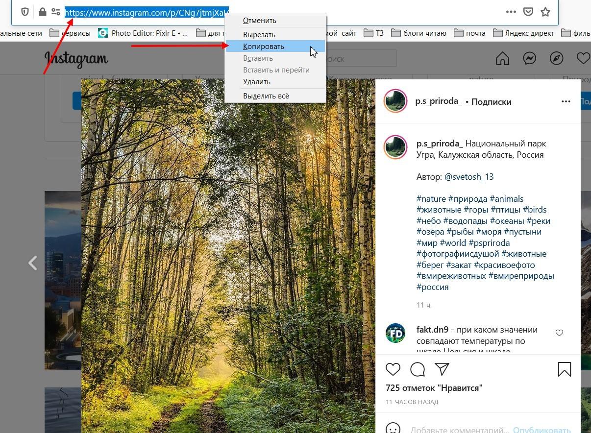 Как скачать фото из Инстаграма на компьютер 1